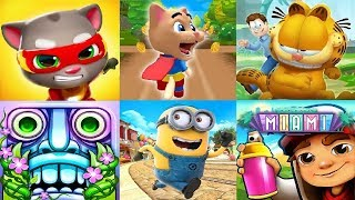 Talking Tom Hero Dash  VS Garfield rush Despicable Me - Minion Rush  Subway Surfers VS Temple Run 2