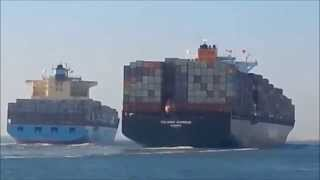 "The moment of impact between two colliding vessels in the Suez Canal this week ""FULL VIDEO"""