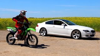 Motocross bike vs BMW drag race Lithuania