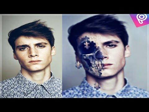 طريقة عمل تأثير تفكك الجمجمة   picsart tutorial skull crash effect
