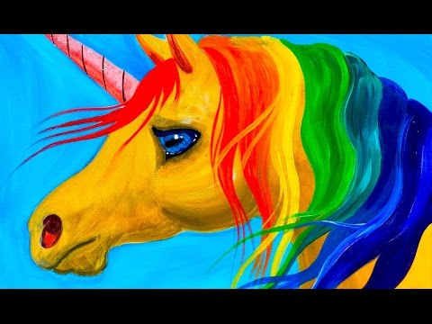 Easy learn to Paint Rainbow Unicorn Acrylic Tutorial Beginners and KIDS