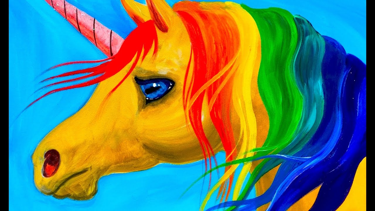 easy learn to paint rainbow unicorn acrylic tutorial beginners and kids youtube
