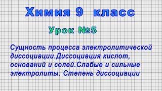 Химия 9 класс (Урок№5 - Сущность процесса электролитической диссоциации.)