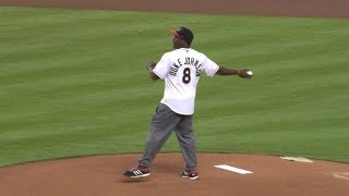 TB@MIA: Johnson throws first pitch, talks NFL draft