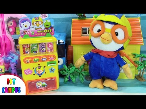 Icy Cold Drinks from Pororo Vending Machine | 뽀로로 말하는 자판기 | ToysReview ToyCampus
