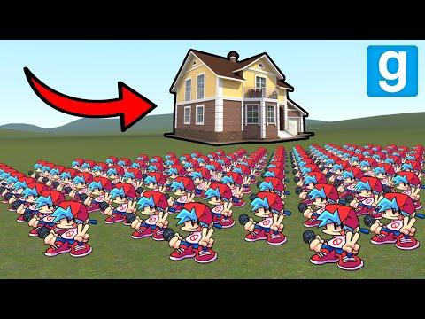 TERRIFYING BOYFRIEND ARMY VS HOUSES! - Garry's mod Sandbox