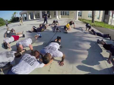 Coast Guard Cutter Dauntless crew members physical fitness test
