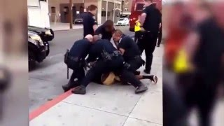 POLICE BRUTALITY - 16 Year Old Kid Gets Beaten & Arrested By 9 California Cops For Jaywalking
