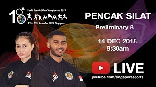 Pencak Silat Match Prelim 8 (Day 2 Arena 1) | 18th World Pencak Silat Championship 2018