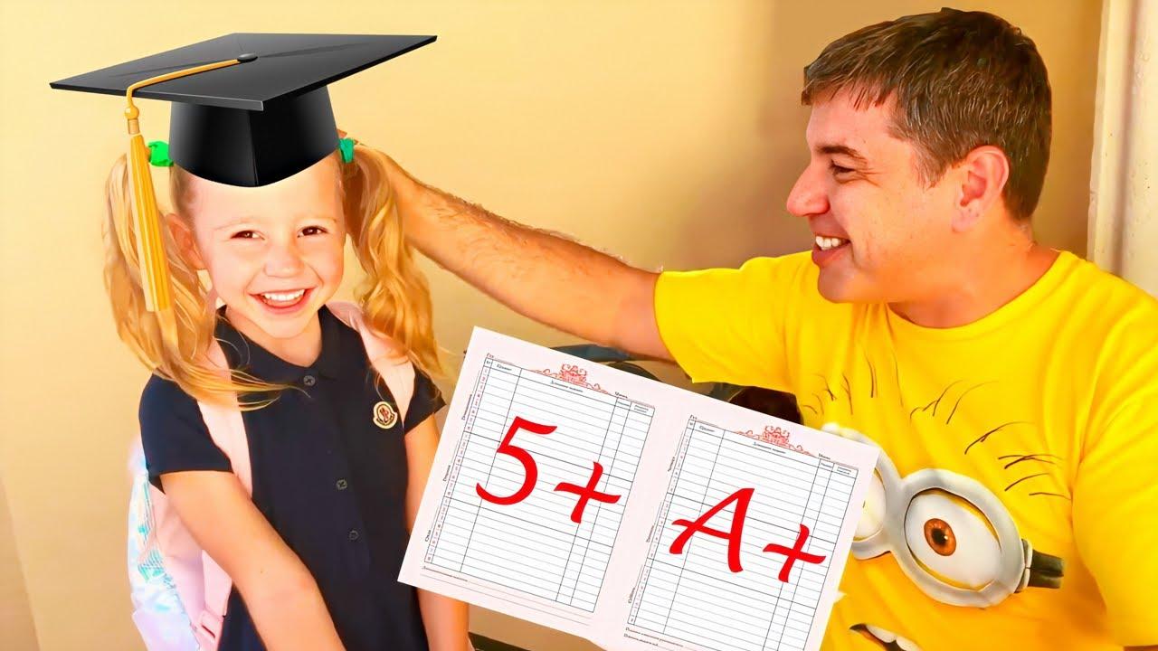 Nastya dan Ayah menunjukkan betapa pentingnya belajar dengan baik di sekolah