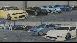 GTA 5 Online (XB1) | 30-Man Clean Stance Car Meet - Chillin & Gone Wrong 😂