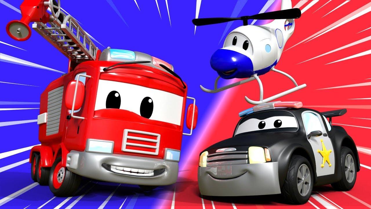 Patrol Policyjny i Carl Super Ciężarówka - Miasto Samochodów - Bajki Dla Dzieci - LIVE