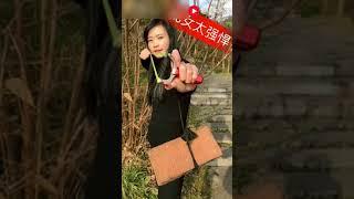 Китаянка стреляет из рогатки как снайпер