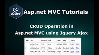 CRUD Operations in Asp.net MVC using Jquery JSON Ajax