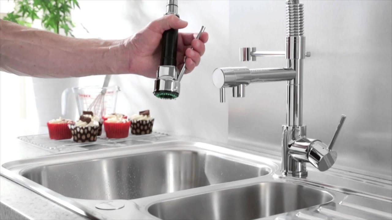 Grifo mezclador monomando de cocina con ducha extraible - Griferia industrial ...