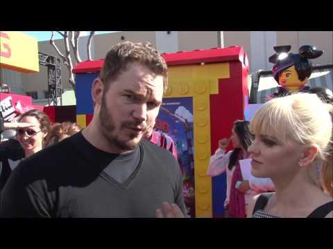 """The Lego Movie: Chris Pratt """"Emmet"""" & Anna Faris Movie Premiere Interview"""