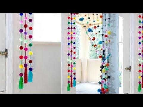 Wonderful pompom door hanging | DIY Room Decor idea with Wool | DIY Crafts for Home Decoration