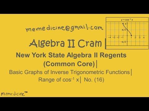 Algebra 2 Cram│ New York Algebra II Regents│ Basic Trigonometry Graph│ Range of arccos x│ No. (16)