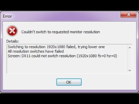 Switching to resolution failed