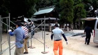 桶狭間神明社初老戌亥会 櫓の組み立て 1