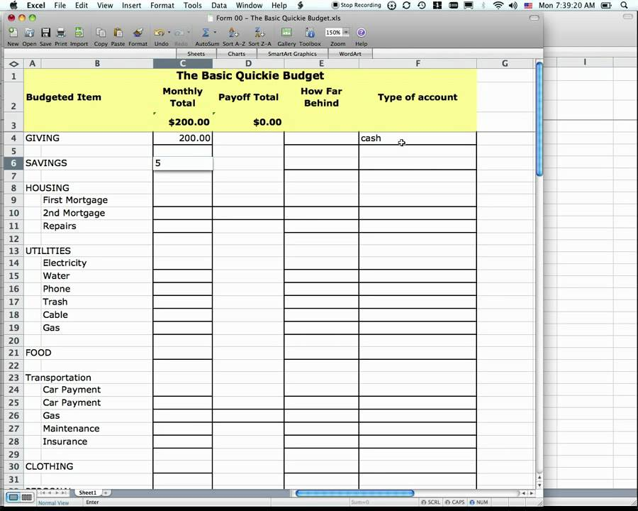 fpu form 0 quickie budget spreadsheet
