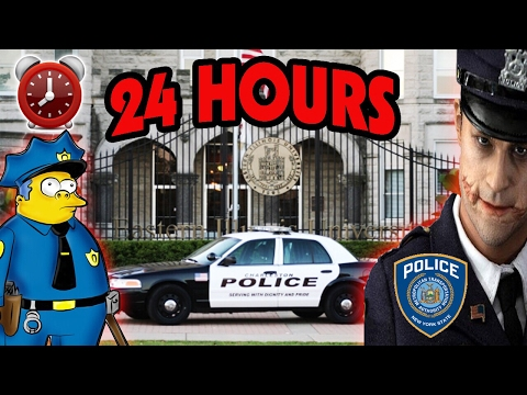 (SECRET FILES FOUND) 24 HOUR OVERNIGHT CHALLENGE AT POLICE STATION | UNDERGROUND JAIL SHOWERS FOUND