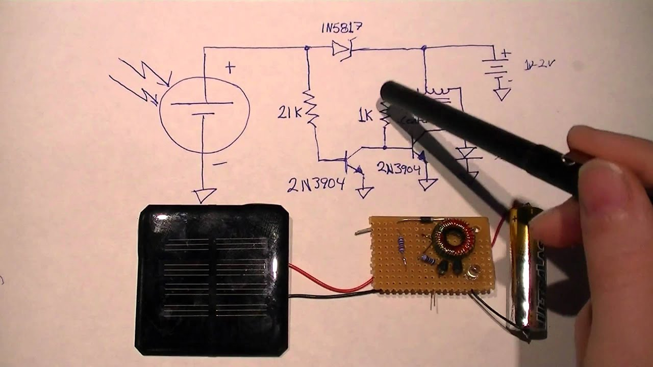 minimal solar night light circuit [ 1280 x 720 Pixel ]