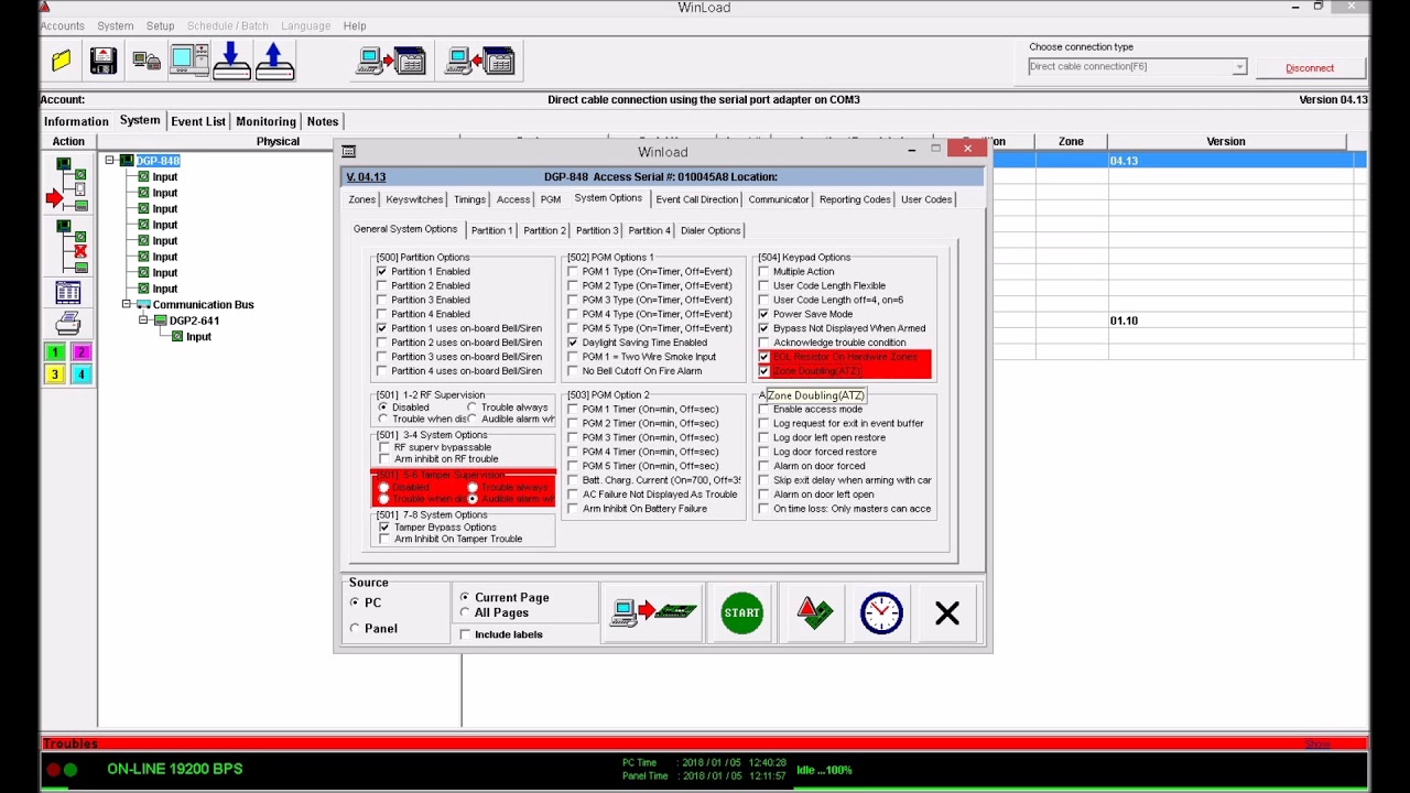 How to program alarm system Paradox with PC Winload software - YouTube
