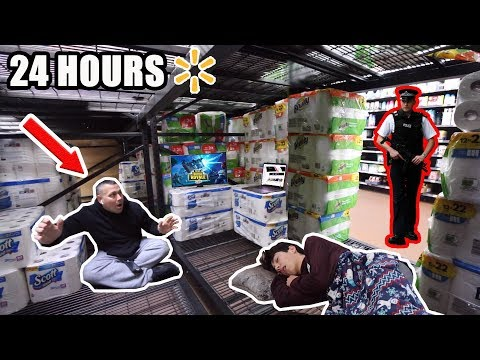 24 HOUR OVERNIGHT CHALLENGE In WALMART With MY DAD! *Caught*