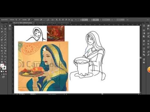 Drawing Indian Girl with illustrator in 30 minutes