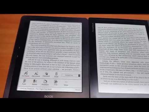 Onyx Boox i86 ML compared to Pocketbook Inkpad. Epub reading. Refresh speed comparison.