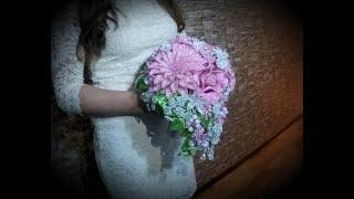 Свадебный букет из бисера и рубки.