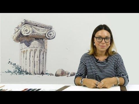 Экспресс-урок по акварельному скетчингу «Античная колонна»
