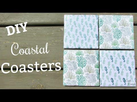 Coastal Scrapbook Paper Tile Coasters DIY | Another Coaster Friday | Craft Klatch