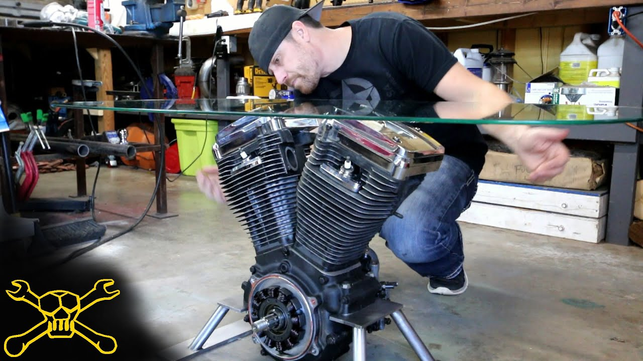 Making a Harley Davidson Engine Table YouTube
