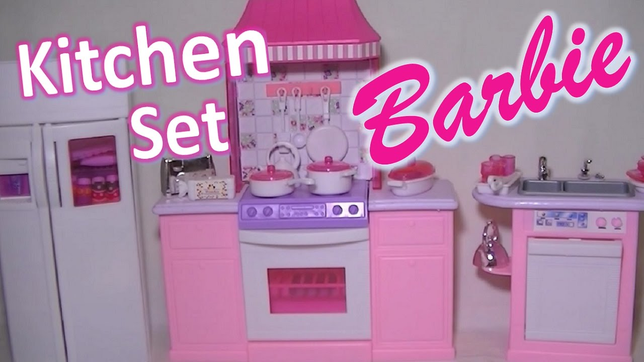 Furniture Kitchen Sets Barbie Gloria Kitchen Set Furniture For Dreamhouse Play Toy Youtube