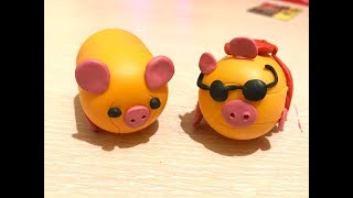 How to make a pig out of empty plastic kinder surprise eggs
