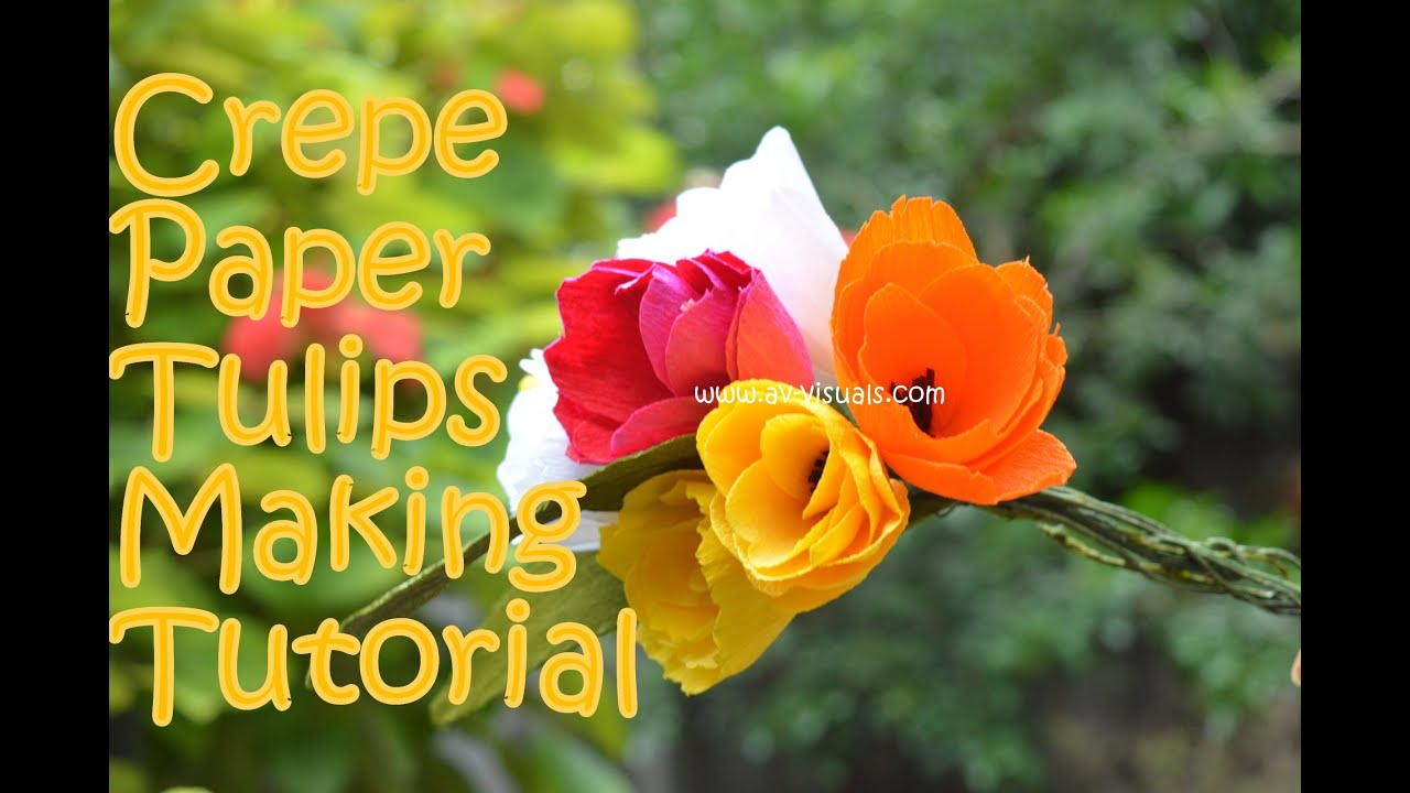 How to make crepe paper tulip tutorial youtube dhlflorist Image collections