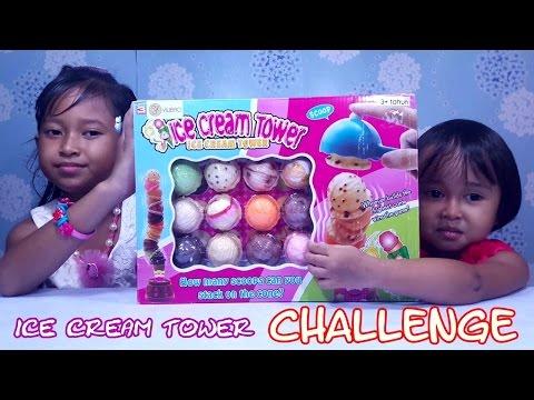 Ice Cream Tower FAMILY CHALLENGE 💖 UNBOXING Mainan Ice Cream Tower 💖 Jessica Jenica