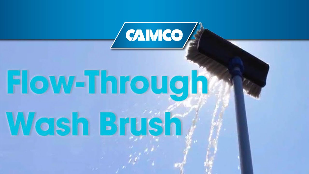 No Ladder Required Wash Your Rv Boat Vehicle Or House With Camco S Flow Through Wash Brush Youtube