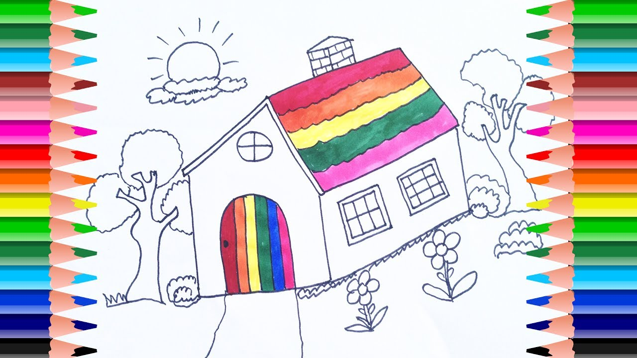 how to draw doll house and tree house coloring pages art