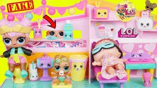 Fake LOL Surprise Dolls Dress Up Shopkins Happy Places + Lil Sisters Custom DIY Magical Fast Food!