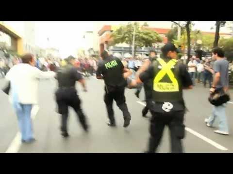 Represión Policial contra protesta social en Costa Rica