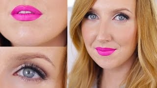 Sooo I think I may have stumbled upon my favorite makeup look EVER! And it doesn't involve eyeliner flicks! This bronzey, glowey makeup look with neon pink ...
