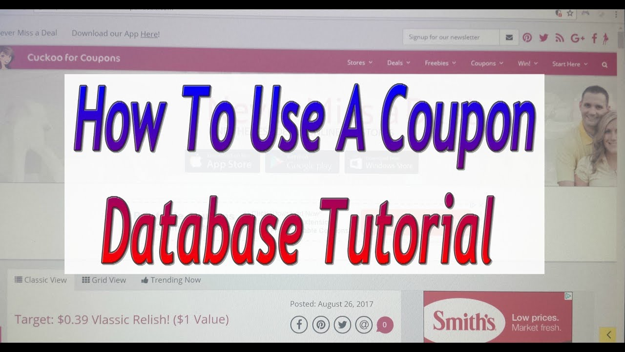 How To Use A Coupon Database Tutorial Youtube