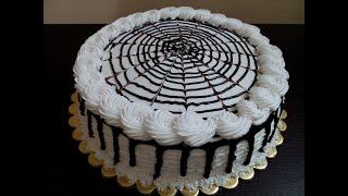 Spider Web Cake with Chocolate Ganache