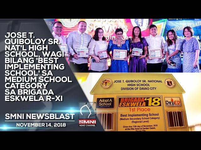 JOSE T  QUIBOLOY SR  NAT'L HIGH SCHOOL, WAGI BILANG 'BEST IMPLEMENTING SCHOOL' SA MEDIUM SCHOOL CATE