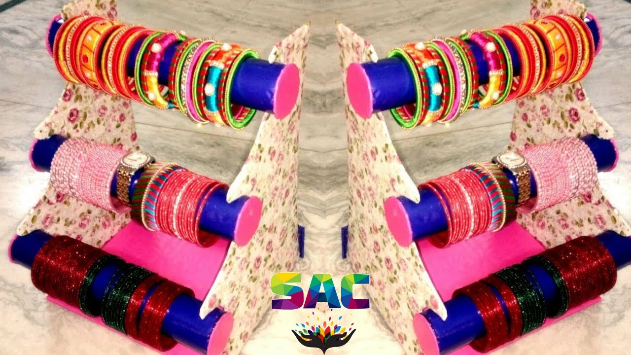 How to make bangle stand bangles stand diy bangle for Best out of waste ideas from bangles