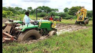 John Deere 5050D tractor stuck in mud Rescued by Massey Ferguson and John Deere tractors