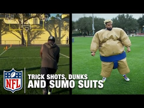 Trick Shots, Slam Dunks, and Sumo Suit Fun with Odell Beckham Jr., Marquette King & More! | NFL